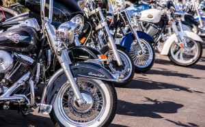 Laughlin, USA - April 26, 2013: Thousands of motorcyclists arrive to celebrate the 32nd annual River Run festival in the resort town of Laughlin, Nevada.